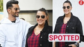 Neha Dhupia & Angad Bedi Spotted Before The Shoot Of 'No Filter Neha'!
