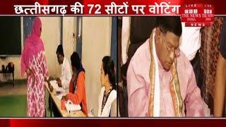 [Chhattisgarh ]छतीसगढ़  की 72 सीटों पर मतदान केंद्रों पर सुबह से ही वोटरों की लंबी कतारें देखी