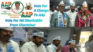 Md Sharfuddin Declared As Charminar AAP Candidate | Md Aziz Joins AAP |