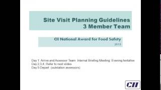 Refresher Training for CII National Award for Food Safety