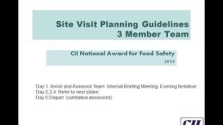 020514  Refresher Training for CII National Award for Food Safety