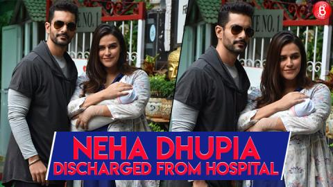 Proud parents Neha Dhupia and Angad Bedi take their new born baby home.