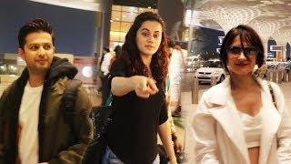 Bollywood Celebs Spotted At Mumbai Airport | Taapsee Pannu, Vatsal Sheth, Sanjeeda Sheikh