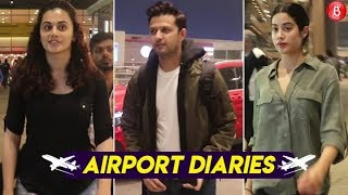 Boney Kapoor Janhvi Kapoor and Other Bollywood Celebrities Spotted at Mumbai Airport