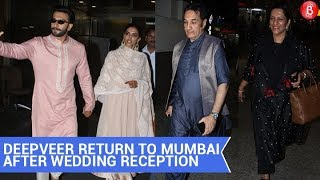 Ranveer Singh And Deepika Padukone return to Mumbai after Wedding Reception in Bengaluru