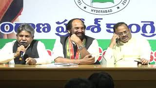 TPCC president  Uttam kumar Reddy and Manda Krishna Madiga, President, MRPS addressing media at Gand