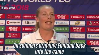 WWT20- Sophie Eccelstone Match Centre Interview after Semifinal win vs India