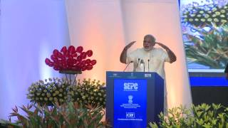 Shri Narendra Modi, Prime Minister of India addressing at the Global Exhibition on Services