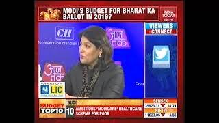 Ms Shobana Kamineni answering a question on Custom Duty in Budget 2018 at India Today Aaj Tak
