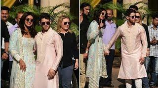 Priyanka Chopra & Nick Jonas Outside House After Wedding Puja