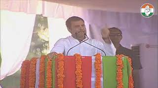 Congress President Rahul Gandhi addresses a public gathering in Khammam, Telangana