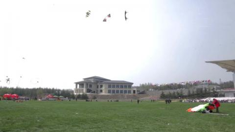 Cartoon cats and kite battles at Weifang Kite Festival