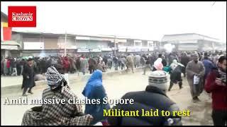 Amid massive clashes Sopore militant laid to rest