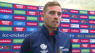 28 May, London – New Zealand – Tim Southee speaks in the mixed zone