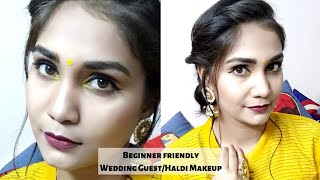 Easy Wedding Guest / Haldi flawless glossy Makeup For Beginners | Step by step in hindi