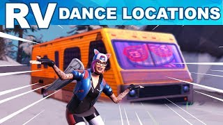 RV's LOCATIONS - Dance on Top of a Crown of RV's Locations - Fortnite Week 1 Challenges Season 7