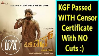 KGF Passed With UA Certificate Without Any Cuts