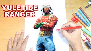 FORTNITE Drawing YULETIDE RANGER - How to Draw Christmas Skin Tutorial - Fortnite Season 7