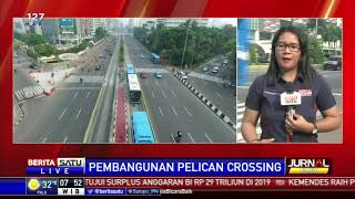 Pembuatan Pelican Crossing di Halte Transjakarta Tosari
