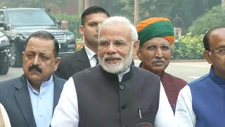 PM Shri Narendra Modi addresses media ahead of winter session of Parliament.