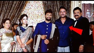 Challenging Star Darshan Attend's Sumanth Shailendra And Anitha Wedding Reception | #Darshan