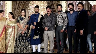 Devaraj, Prajwal Devaraj, Pranaam Devaraj Attend's Sumanth Shailendra And Anitha Wedding Reception