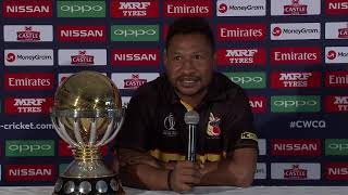 PNG captain Asad Vala speaks to media ahead of the ICC CWC Qualifier 2018