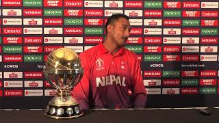 Nepal captain Paras Khadka speaks to the media ahead of the ICC Cricket World Cup Qualifier Trophy in Zimbabwe, 3 March 2018