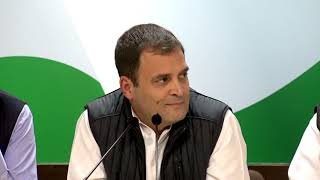Congress President Rahul Gandhi addresses the media on Assembly Elections