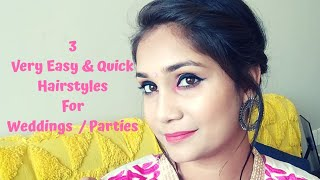 Wedding / Party Hairstyles | Easy & Quick for Long or Mid Lenth Hair | Nidhi Katiyar