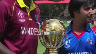 Captains pose with the ICC CWCQ trophy