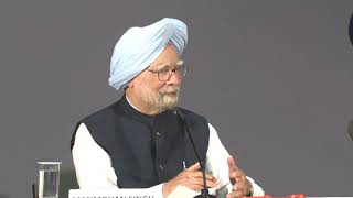Former Prime Minister Manmohan Singh speaks at the launch of his book 'Changing India'
