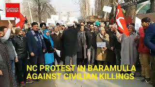 National Conference Protest In Baramulla Against Civilian Killings In Pulwama South Kashmir