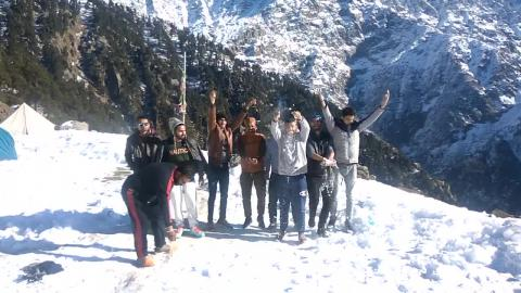 Enjoying in snow at Triund