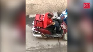 Zomato delivery boy eating food meant for delivery, video goes viral