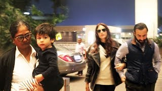 Saif Ali khan Kareena Kapoor & Taimur Ali Khan Spotted At Airport