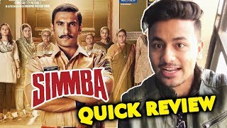SIMMBA QUICK REVIEW | Ranveer Singh Sara Ali Khan | Full Entertainment