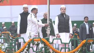 Congress President Rahul Gandhi hoists flag on the occasion of 134th Congress Foundation Day