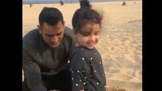Ms Dhoni Cute Video With Daughter Ziva Dhoni On Beach