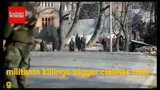 In Video | Massive Clashes erupted near Encounter site at Hajin Pulwama.
