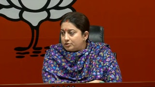 Press Conference by Smt. Smriti Irani at BJP Head Office, New Delhi 01.01.2019