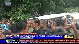 Jokowi Jogging dan Menyapa Warga di Kebun Raya Bogor