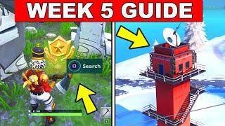 Fortnite ALL Season 7 Week 5 Challenges Guide! Fortnite Battle Royale - Giant Rocks, Ranger Tower
