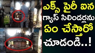 LPG Gas Cylinder Crushing With Hydraulic Press | Hydraulic Press Vs Cylinder | Top Telugu TV