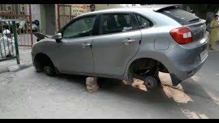 7 लग्जरी कारों के टायर चोरी, CCTV में कैद