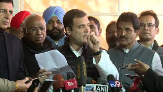 Congress President Rahul Gandhi addresses media in Parliament on Rafale Scam