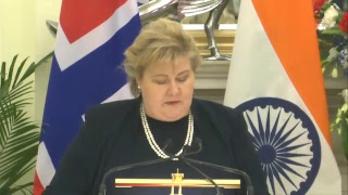 PM Shri Narendra Modi with PM of Norway Erna Solberg at a Joint Press Meet