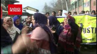 Aasha Workers Union Baramulla Today Held a Protest in Front of DC office Baramulla.Report by Rezwan