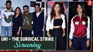 Vicky Kaushal Yami Gautam Mohit Raina At The Screening Of 'URI - The Surgical Strike'