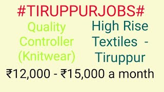 #TIRUPPUR#JOBSnearme Jobs in TIRUPPUR  For Freshers and Graduates   No experience  